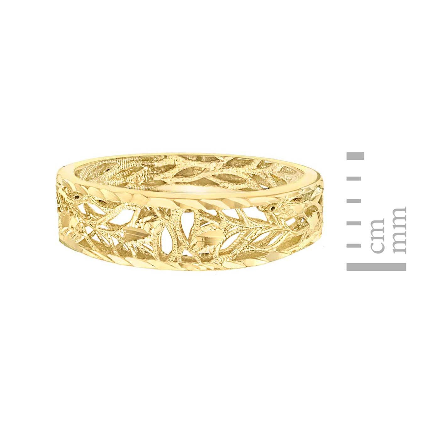 Femme Carissima Gold 9ct Yellow Gold Diamond Cut Open Leaves Band Ring