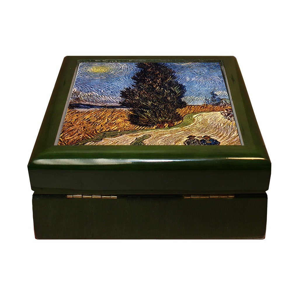 Style in Print The Dining Room (Morisot) 4''x4'' Jewelry Box Ceramic Tile Green Frame