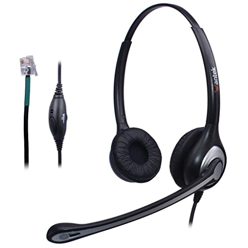 Wantek Corded Telephone Headset Dual w/Noise Canceling Mic for Avaya Aastra Allworx Adtran Alcatel