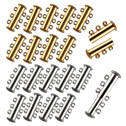 - I-MART Pack of 20 Multi 3 Strand Slide Lock Clasps, Connectors for Necklace/Bracelet Jewelry Findings, 10 Pcs Silver & 10 Pcs Gold Plated Brass