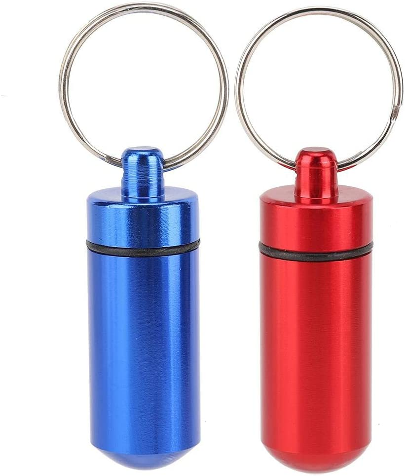2pcs Waterproof Travel Aluminum Alloy Pill Container Keychain Case Purple