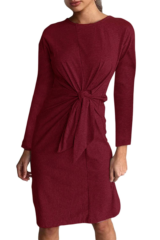 Zamtapary Women Midi Dress Casual Long Sleeve Solid Cocktail Slim Dresses