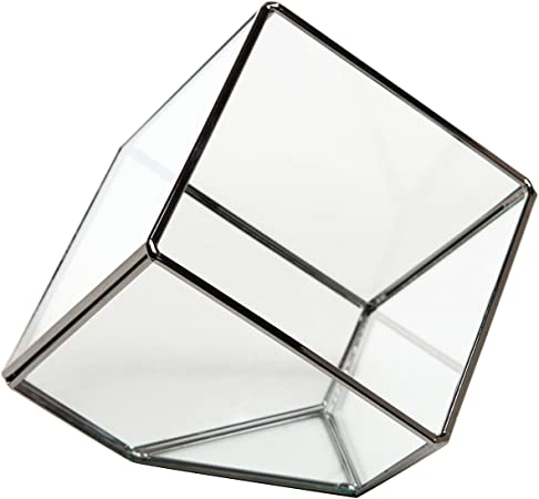 Bougie chauffe-plat MyGift artistique moderne en verre transparent bo/îte cube d/écoratif Plante en verre de terrarium//Bougie votive
