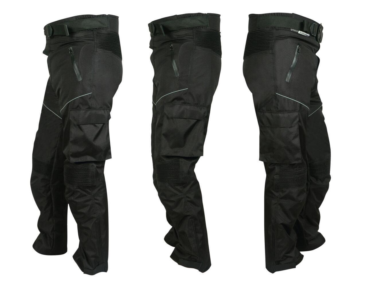 Mens Motorcycle Motorbike Waterproof CE Armoured cordura Fabric Textile Trouser Pants Black (36, Black) Swiftwears S-75