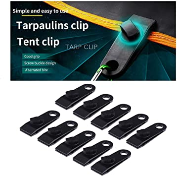 TOYMIS 12 PCS Tarp Clips Tent Clips Awning Clamp Set Locking Clamp Design for Tents Car Cover Tarp Pool Cover Couch Cover Black Boat Cover
