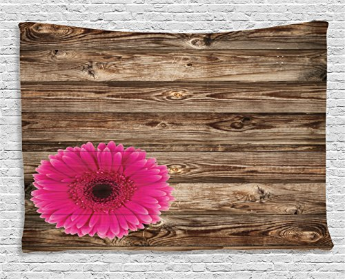 Ambesonne Rustic Home Decor Collection, Pink Daisy Blossom on Vintage Wood Wall Picture Gerbera Flower Farm Country Style, Bedroom Living Room Dorm Wall Hanging Tapestry, 60 X 40 Inches, Brown Fuschia ()