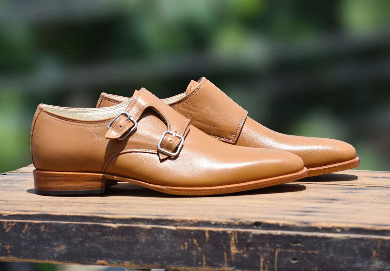 Men Dress monk shoes Handmade Men Tan color Brogue formal Shoes Mens shoes
