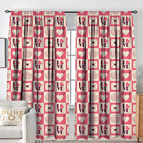 Rod Pocket Curtains Valentines,Vintage Checkered Pattern with Bicolor Squares Love Letters Envelopes Hearts,Pink Plum Tan,for Room Darkening Panels for Living Room, Bedroom 84