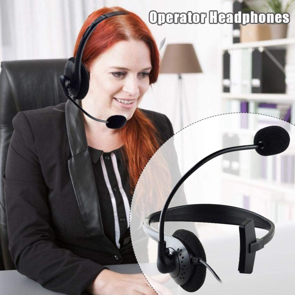 N/C USB Headset with Noise Canceling Microphone, Over-The-Head Computer Headphone, Lightweight Wired Headset Earphone with in-Cord Volume Control, for Airline Gaming Online Learning