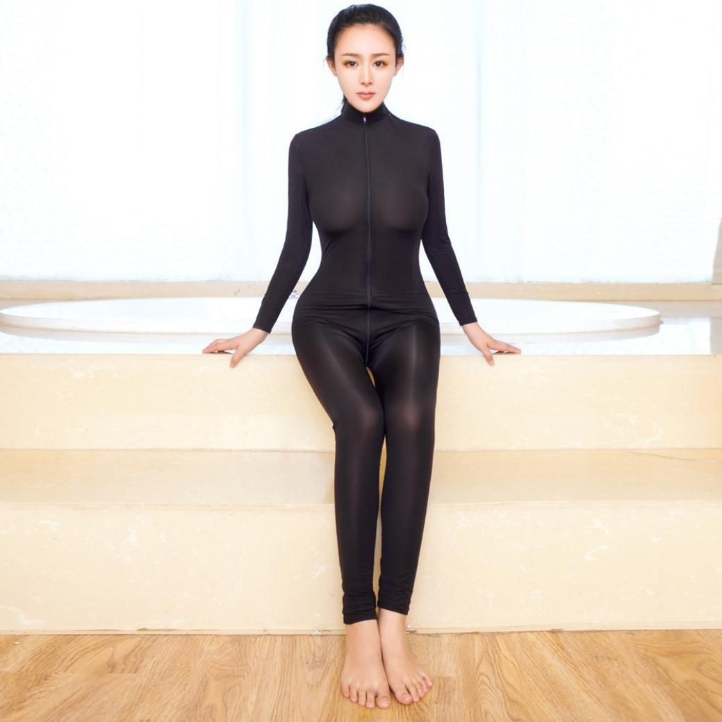 Women Sexy Bodysuit Zipper Long Sleeve Open Crotch Lingerie Jumpsuit  Bodystocking Crotchless Sheer Sex 3196bb29b