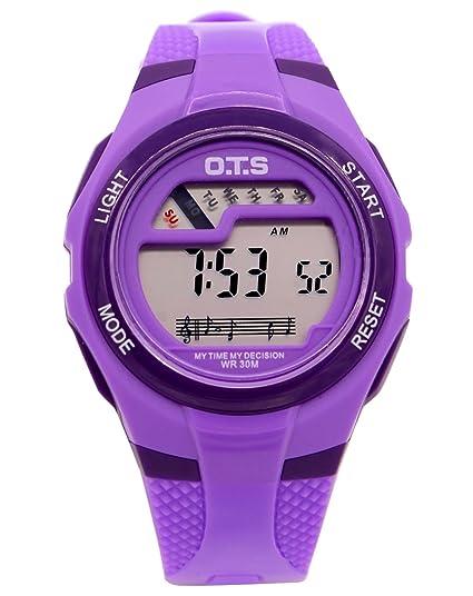 OTS - Reloj Digital Deportivo Impermeable Luminoso de Cuarzo con Alarma Cronómetro para Niños Niñas y Estudiantes - Color Púrpura: Amazon.es: Relojes