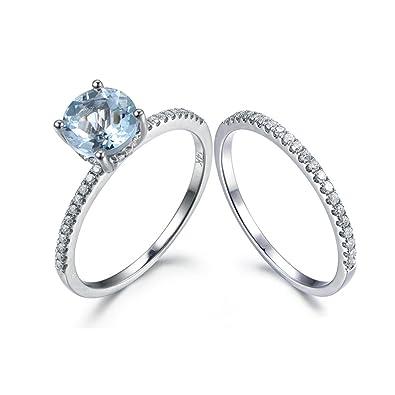 Amazon Com 2pcs Aquamarine Wedding Ring Set 6 5mm Round Blue Stone