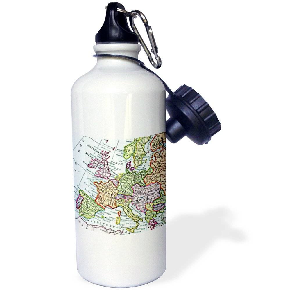 3dRose wb_112938_1 ''Vintage European map of Western Europe Britain UK France Spain Italy etc retro geography travel'' Sports Water Bottle, 21 oz, White