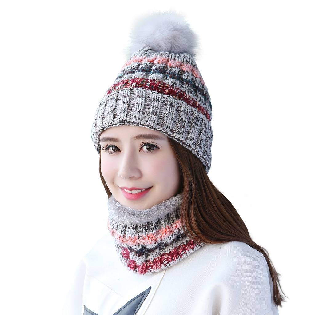 50cb33581 Home Prefer Womens Winter Beanie Hat Scarf Set Warm Fuzzy Knit Hat Neck  Scarves - Cool Beanie Hats
