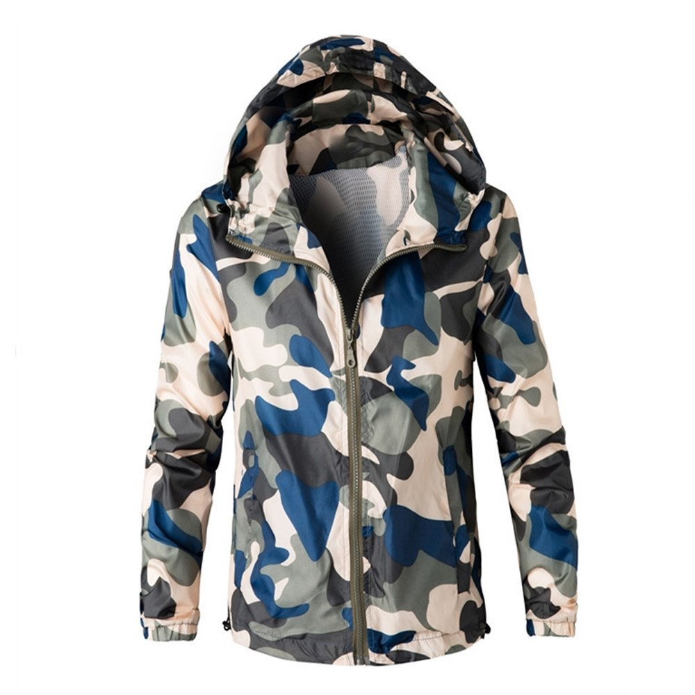GOVOW Outwear Jackets for Men Autumn Winter Coat Green Camouflage Hoodie Hooded Sweatshirt(L,Blue)