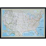 Craig Frames Wayfarer, Classic United States Push Pin Travel Map, Gallery Black frame and Pins, 24 by 36-Inch