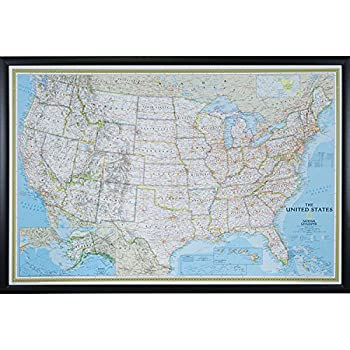 Amazoncom Executive US Push Pin Travel Map With Black Frame And - Childrens us pushpin map