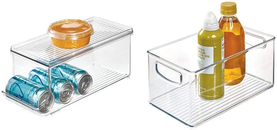 iDesign Fridge Binz BPA-Free Plastic Beverage Can Organizer with Lid & Plastic Storage Bin with Handles for Kitchen, Fridge, Freezer, Pantry, and Cabinet Organization, BPA-Free, Medium