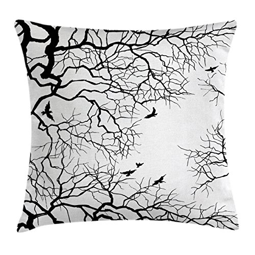 """Ambesonne Nature Throw Pillow Cushion Cover, Birds Flying Over Twiggy Tree Branches Autumn Season Sky View Artwork Print, Decorative Square Accent Pillow Case, 16"""" X 16"""", Black White"""
