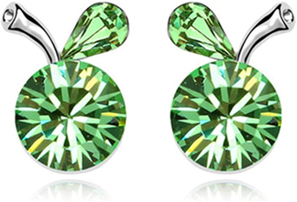 White Gold Plated Crab Apple Fruit with Round Green Swarovski Element Crystal Stud Earrings Fashion Jewerly for Women