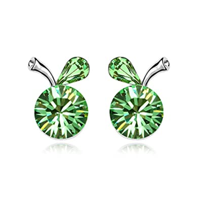 dd55f9a86 Image Unavailable. Image not available for. Color: White Gold Plated Crab  Apple Fruit with Round Green Swarovski Element Crystal Stud Earrings ...