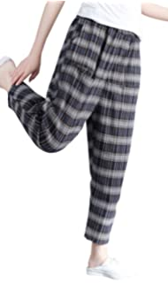 7bac2c24d449 Foucome Womens Baggy Casual Cargo Pocket Trousers Cotton Linen Loose Plaid  Harlan Pants Elastic Waist