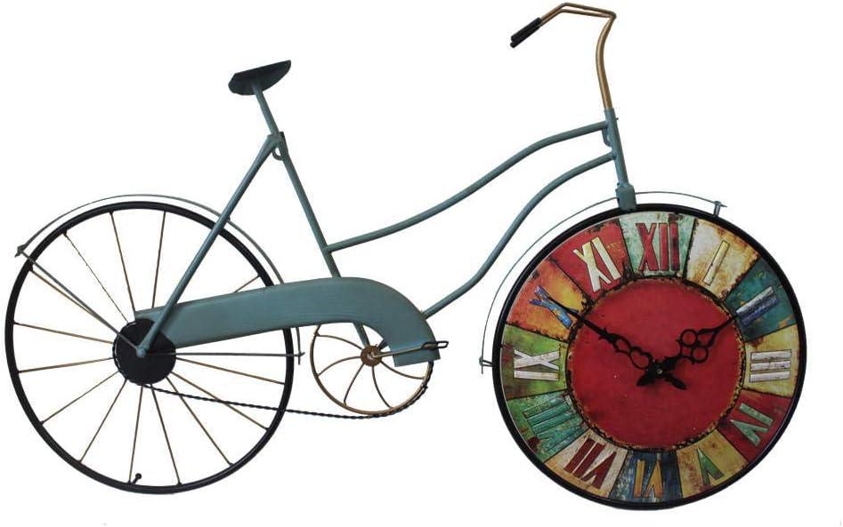 XLLJA Reloj de Pared Vintage de Bicicleta de Hierro Forjado, Sala de Estar en casa silenciosa, cafetería, Bar, Restaurante