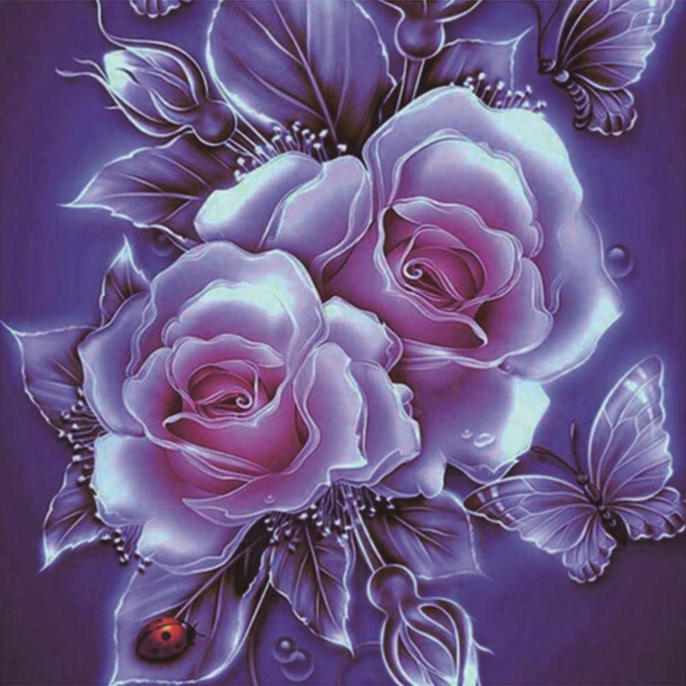 Full Drill DIY Diamond Dotz Embroidery Crafts Graphy Art Wowdecor 5D Crystal Diamond Painting with Diamonds Kits Retro Pink Rose /& Butterfly