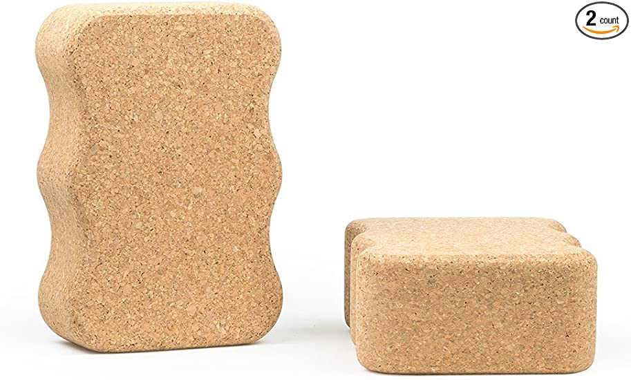 Amazon.com : Clever Pro Wave Shape Natural Cork Yoga Block ...