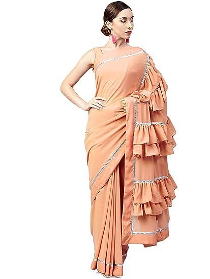 8ebdeda2dd2470 Nirjas Pink Georgette Ruffle Saree  Amazon.in  Clothing   Accessories