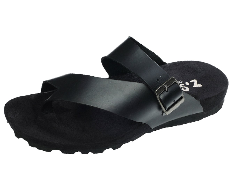 DQQ moda Hombre de piel THONG sandalias de correa 40.5 EU negro