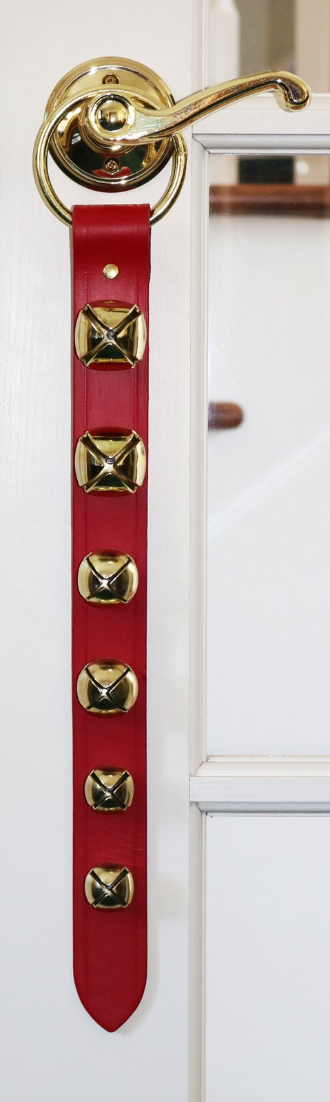 Ring Gold Sleigh Bell Red Leather Door Decoration Hanger