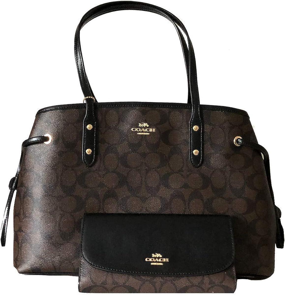 New Coach C Signature Purse Satchel Hand Bag & Wallet 2 Piece Set Brown Black