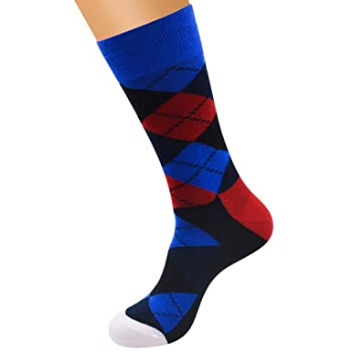 a4f11179620 Chaussettes Hommes Colorées Argyle Fantaisie Chaussettes Hauts Socks Dress  (A)