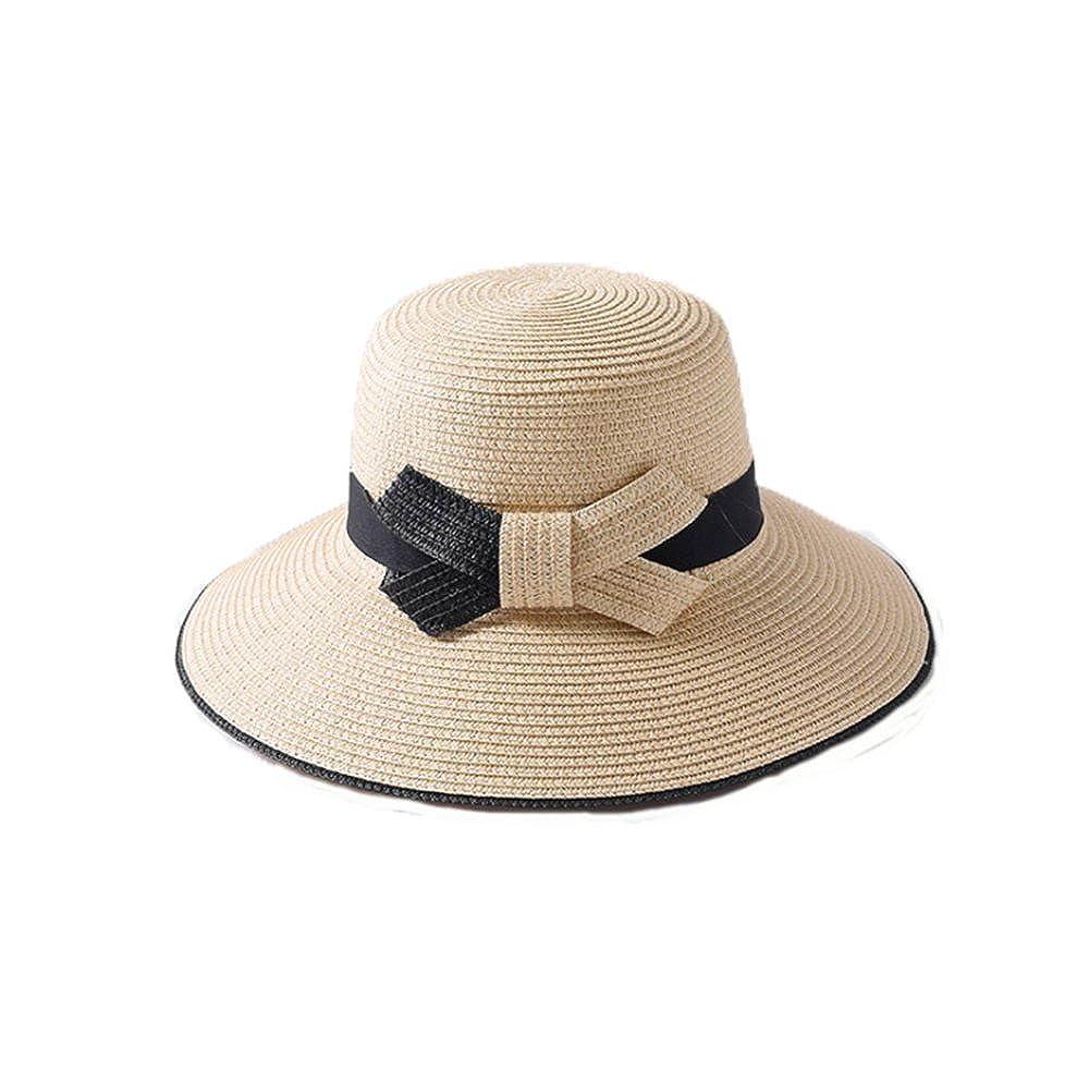 24cdf390 lemondress Women's Wide Brim Sun Beach Hat Braided Bucket with Wind Lanyard  UPF 50+ at Amazon Women's Clothing store: