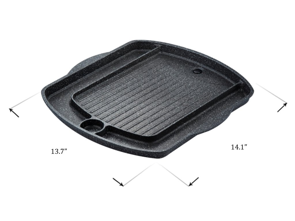 Korean BBQ Grill Pan, Square Roast Pan, Non-Stick Coated Pan(Exterior/Interior) by Kitchen Flower (Image #4)