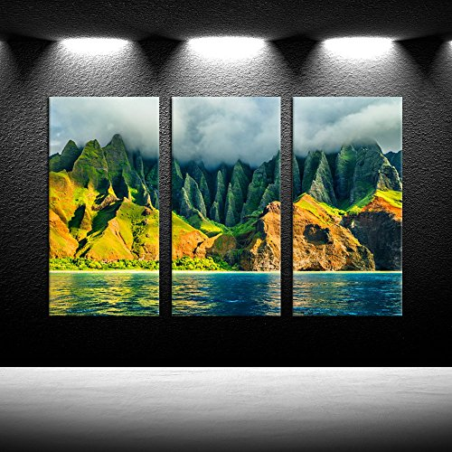 iKNOW FOTO Large 3 Panel Canvas Wall Art Na Pali Coast Kauai Hawaii Sea Sunset Cruise Tour Pictures Prints Nature Coastline Landscape Travel Photography Framed Artwork for Home Decor 16x32inchx3pcs