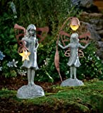 Weather-Resistant Star Gazer Garden Fairy Statuary with Solar Lantern