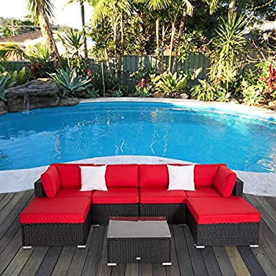 Peach Tree 7PCs Outdoor Patio Furniture Sectionals Wicker Rattan Sofa Set with 2 Ottomans Red