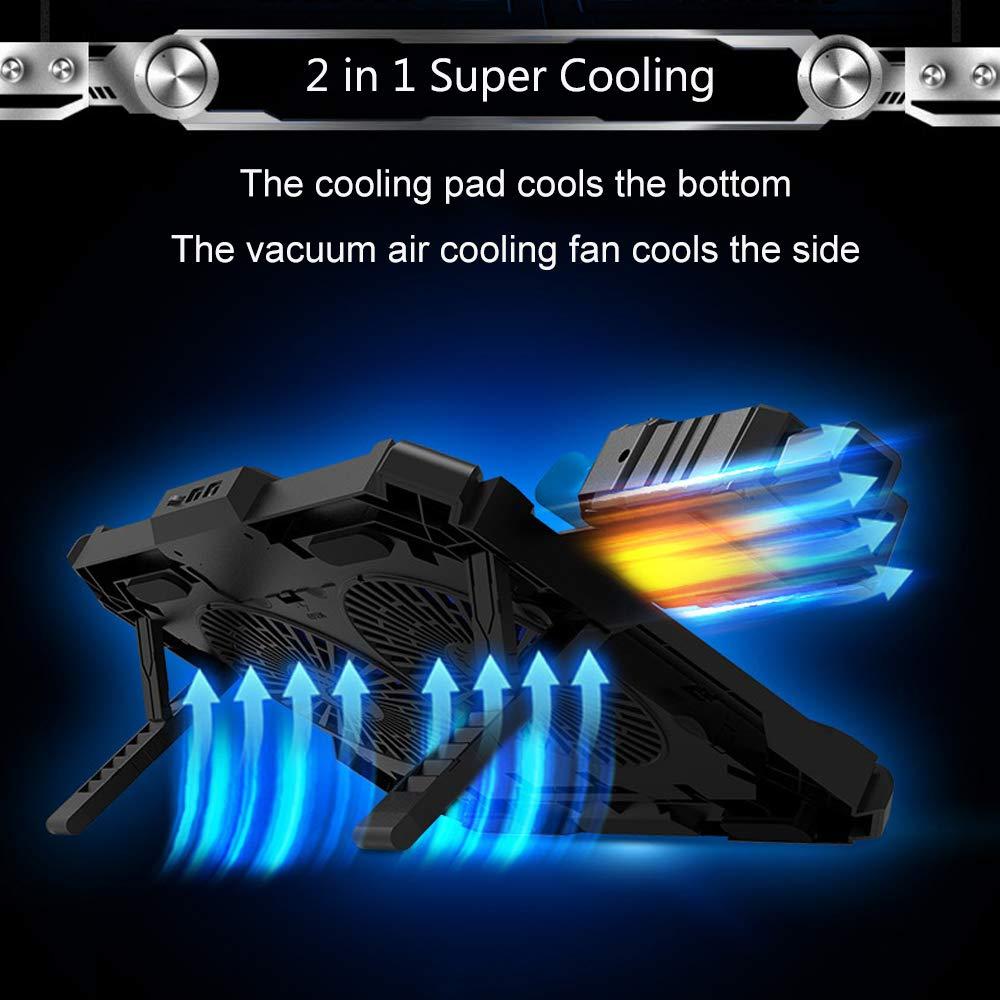 Base de Refrigeración para Ordenador Portátil de 17.3 Pulgadas ,Mbuynow 2 en 1 Mini Ventilador de Aire del USB del Vacío,Combinación doble con Control de Temperatura inteligente,Silenciador,Soporte de Altura Ajustable de 8 Niveles y Teléfon