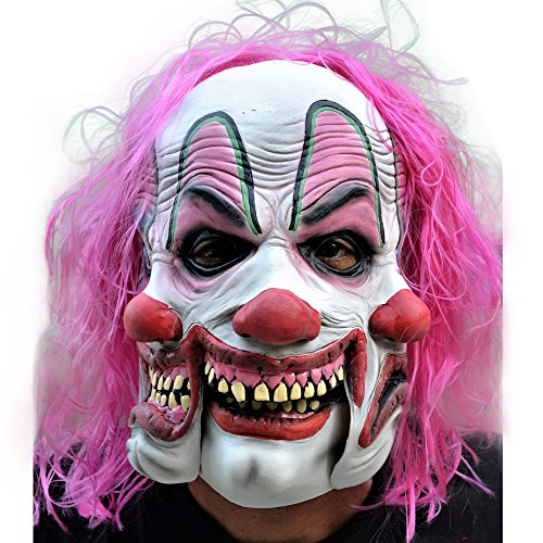Killer Clown Costumes For Men (Morbid Enterprises Tri Face Pinky The Clown Mask, White/Pink/Red/Green/Black, One Size)