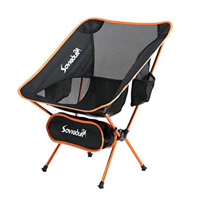 SOVIGOUR Folding Camping Chair, Outdoor Portable Camping Chair, Lightweight Backpacking Chair, Heavy Duty Compact Camp Chair for Hiking Picnic Finishing and Travel with Carry Bag : Sports & Outdoors