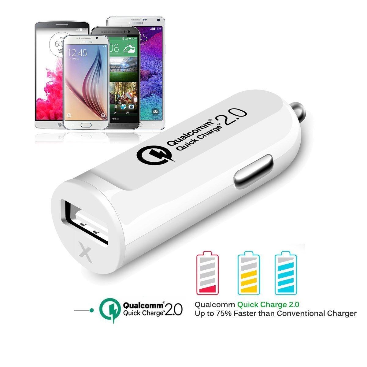 Amazon.com: Cargador HTC uno M9 rápida (Quick Charge 2.0 cargador de coche), PRODUCTOS 18W USB cargador de coche adaptable Turbo cargador rápido con [24 ...