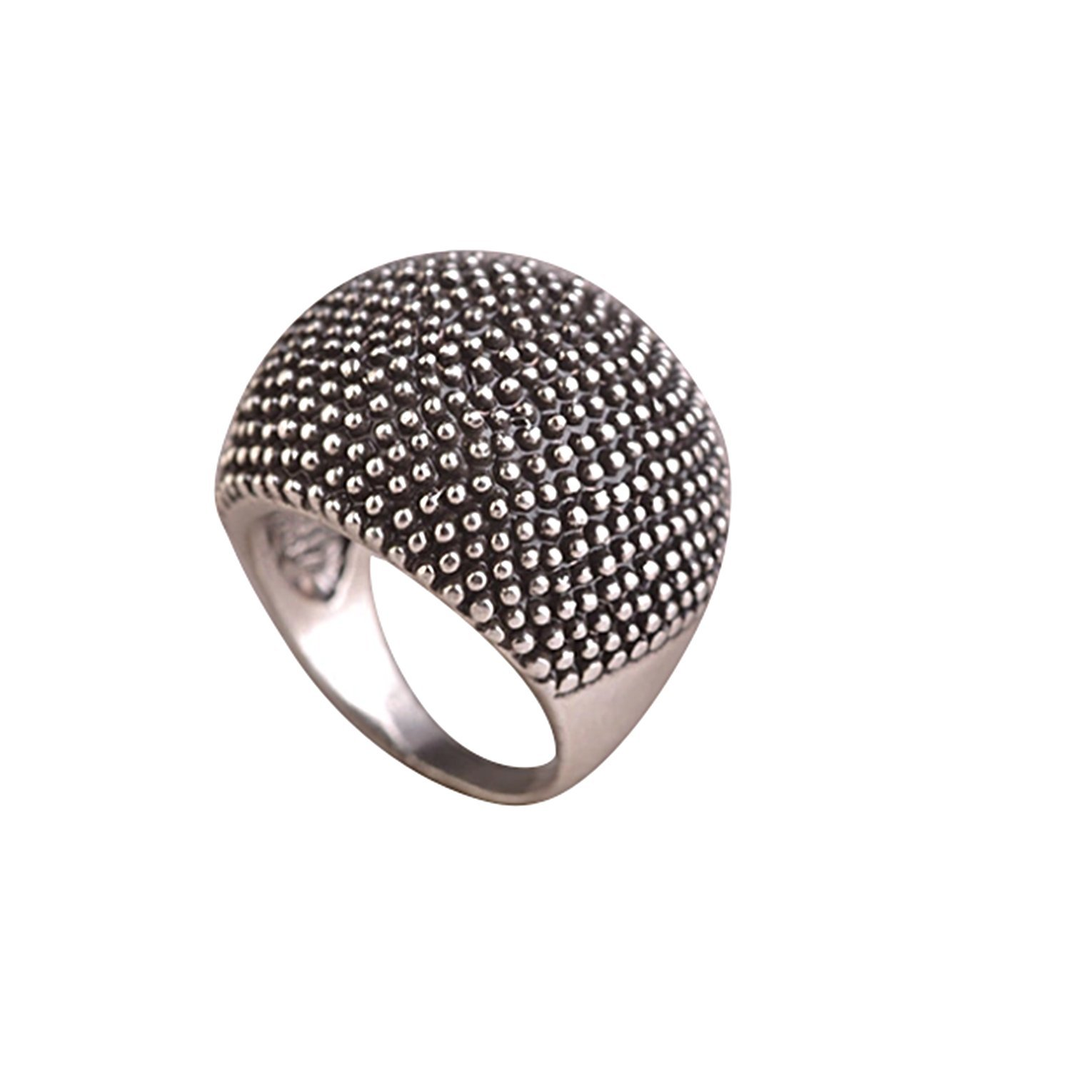 HAVANA Statement Black Silver Plated Big Large Round Party Ring (7)