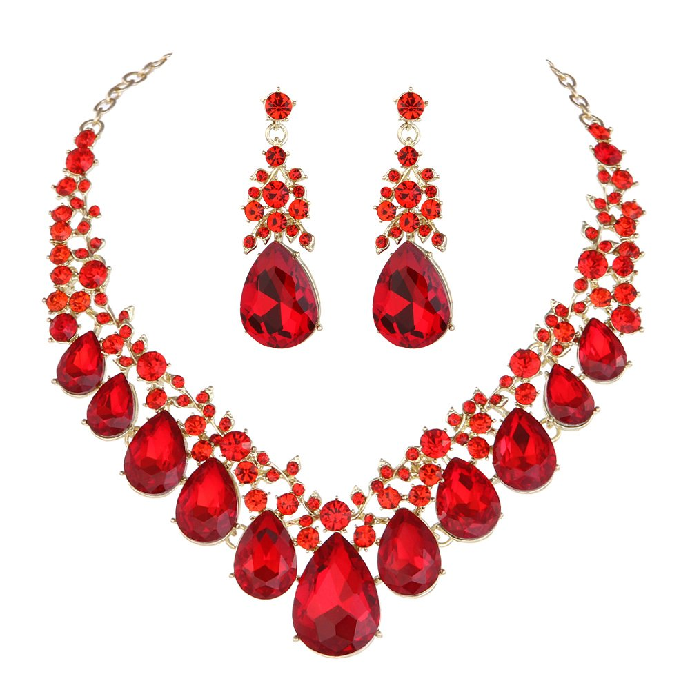 Youfir Bridal Rhinestone Crystal V-Shaped Teardrop Wedding Necklace and Earring Jewelry Sets for Brides Formal Dress (Red)