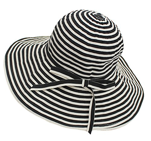 Roffatide Womens Striped UPF50+ Summer Sun Hat Bucket Packable Wide Brim Boonie Hat Black