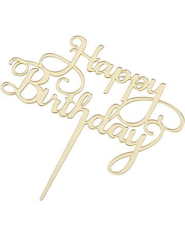 D DOLITY HAPPY BIRTHDAY Cake Topper de Acrílico Fiesta de Cumpleaños Suministro Celebración Centro de Mesa