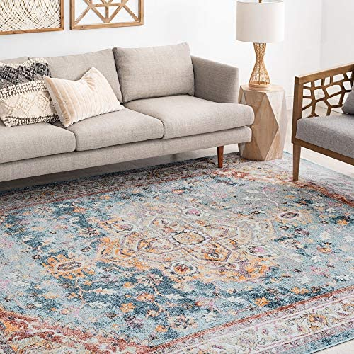 Tayse Kinsley Denim 11×15 Rectangle Area Rug for Living, Bedroom, or Dining Room – Traditional, Oriental