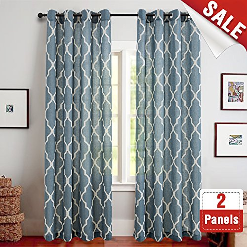 jinchan Quatrefoil Linen Curtains - Lattice Moroccan Tile Printed Curtain Panels/Drapes for Bedroom/Living Room Window/Patio Door - 95 inch Long - (Blue, Set of 2 Panels) (Panels Printed Window)