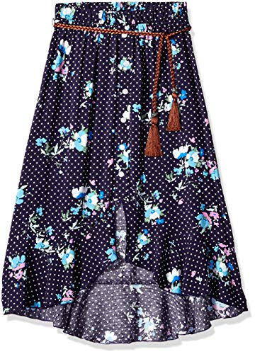 (Amy Byer Girls' Big High Low Woven Maxi Skirt, Fiji Blue/Navy/Ivory Polka dots/Florals, L)